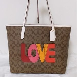 Coach City Tote In Signature Canvas With Love